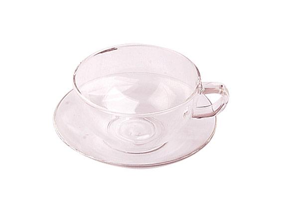 Стеклянная чашка с блюдцем