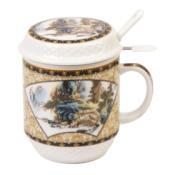 Чашка с заварочной колбой и ложечкой